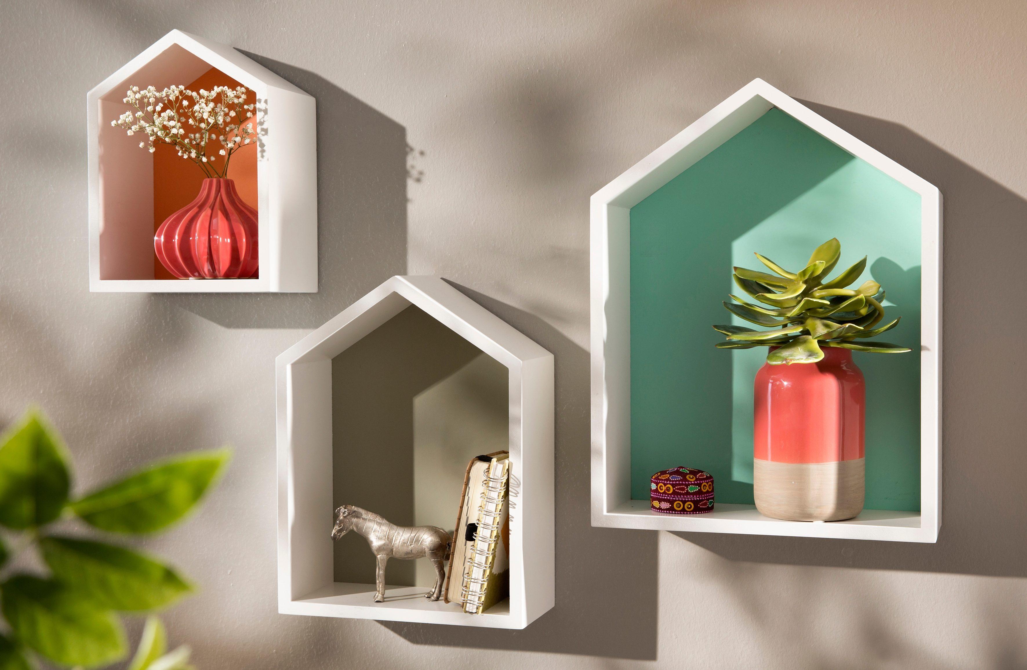 Home affaire Wandkästen »Häuser« (3-tlg.)