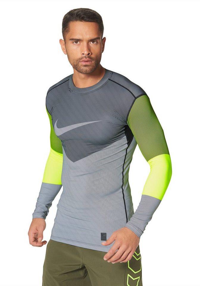 Nike Funktions-Langarmshirt in Grau-Gelb