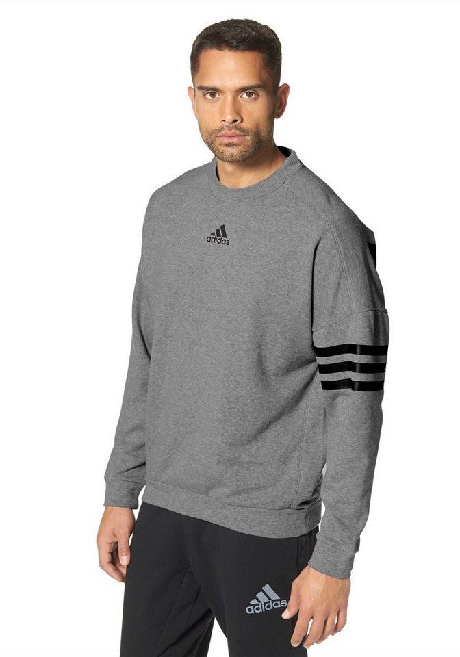adidas Performance ESSENTIALS LINEAR 3S CREW Sweatshirt in Grau-Meliert