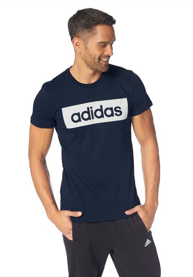 adidas Performance ESSENTIALS LINEAR TEE T-Shirt in Marine-Weiß