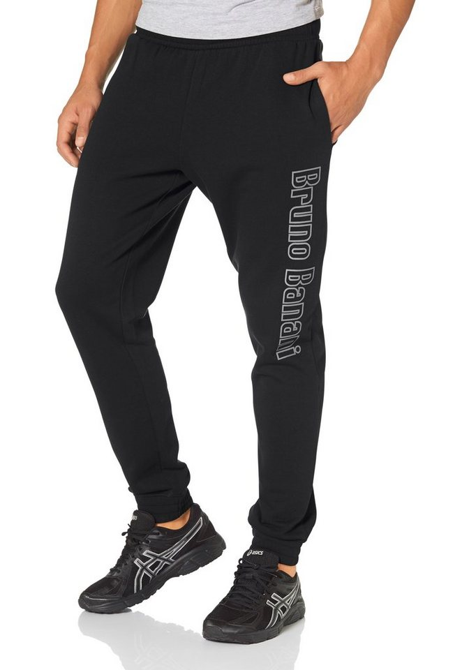 Bruno Banani Jogginghose angeraute Sweatware in schwarz