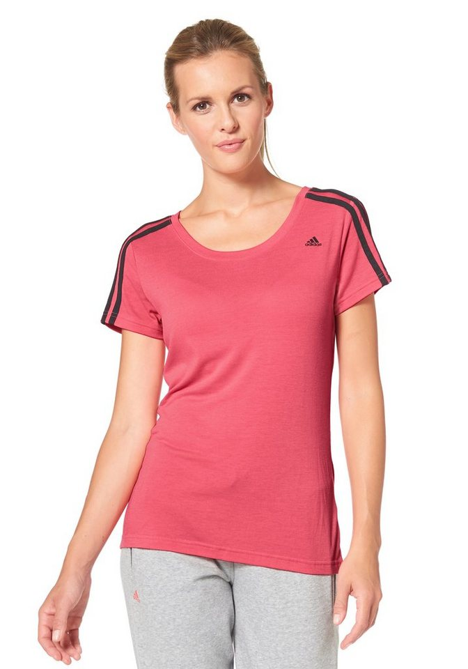 adidas Performance ESSENTIALS 3S SLIM TEE T-Shirt in Pink-Schwarz