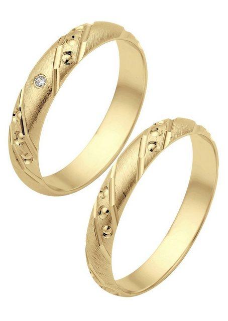 Firetti Trauring mit Gravur »Gebürstet, Glanz, Diamantschnitt« Made in Germany | Schmuck > Ringe > Ringe mit Gravur | Goldfarben | Si | Firetti