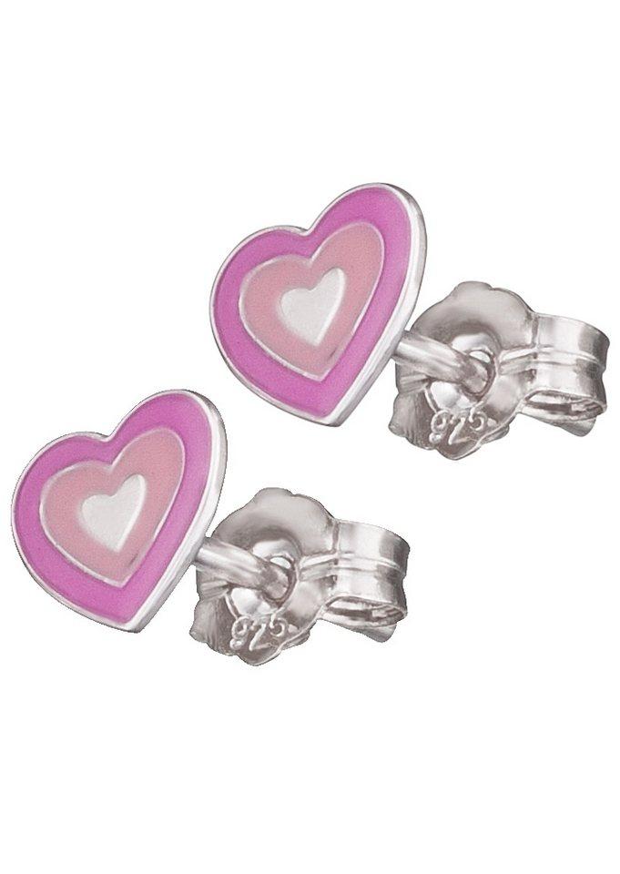 Herzengel Paar Ohrstecker, »Herz, HEE-02LOVE« in Silber 925/rosa