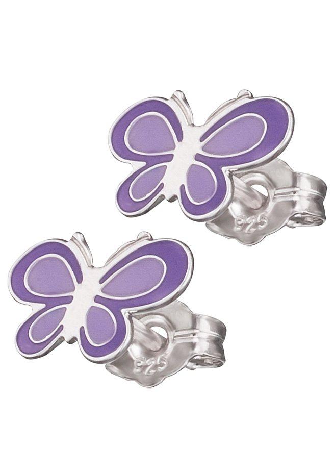 Herzengel Paar Ohrstecker, »Schmetterling, HEE-06NATURE« in Silber 925/lila