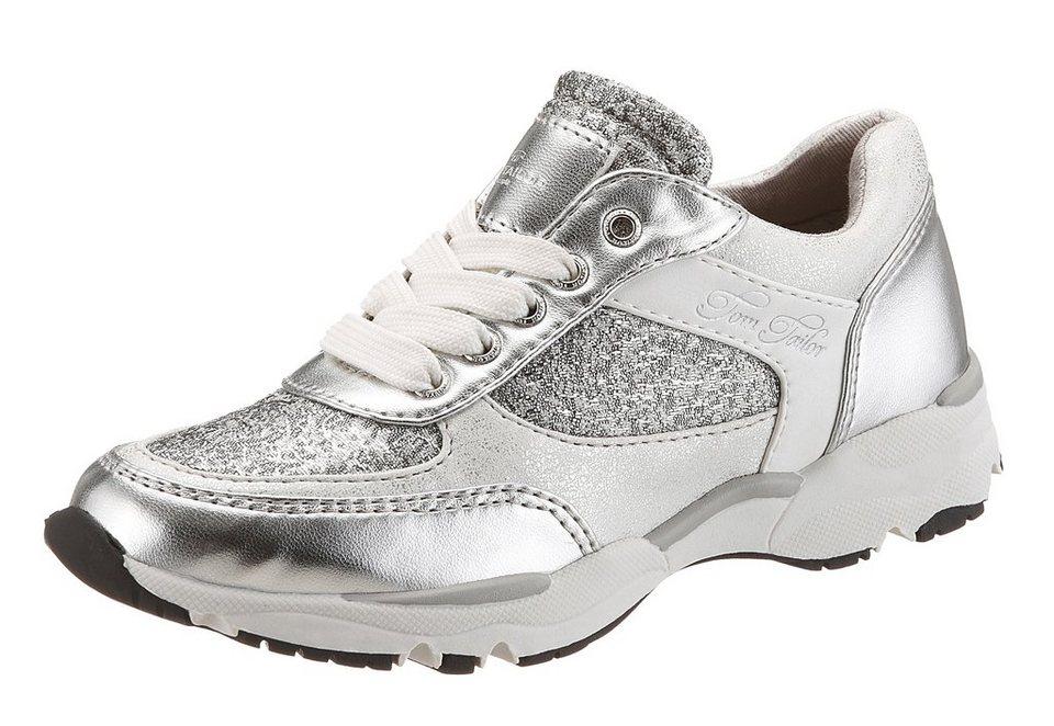 Tom Tailor Sneaker im Materialmix mit Metallic Look in weiß-silberfarben