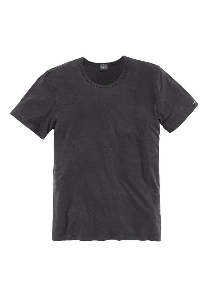 Bugatti T-Shirt mit Rundhalsausschnitt in 1x schwarz