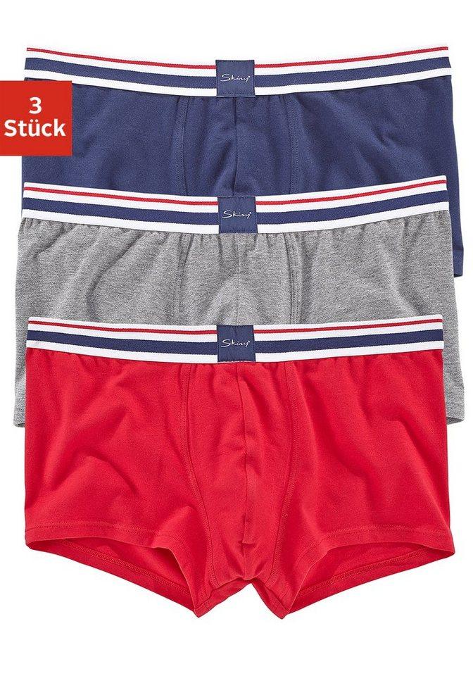 Skiny, Boxer (3 Stück), bequeme Pants mit weichem Webbund in marine + grau meliert + rot
