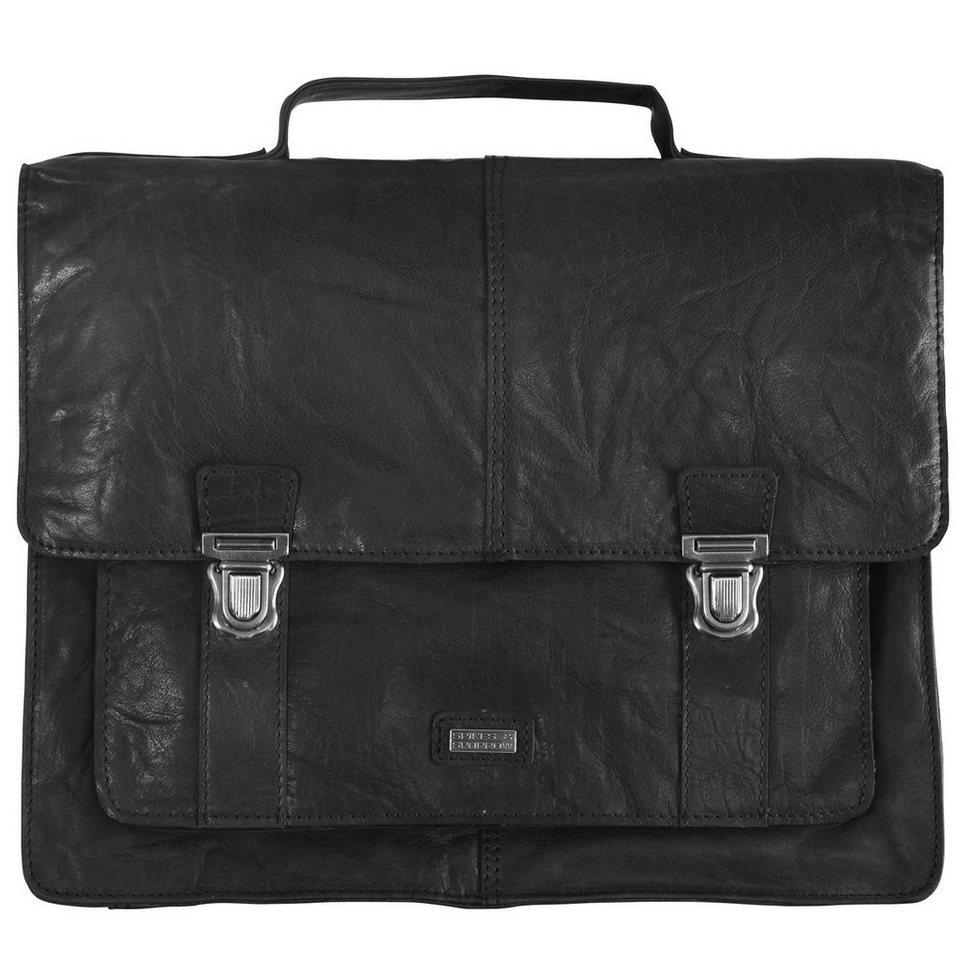 Spikes & Sparrow Bronco Aktentasche Leder 34,5 cm in black