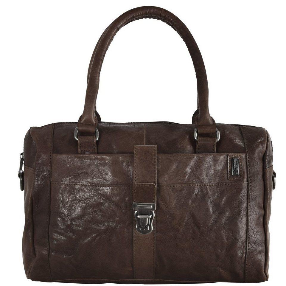 Spikes & Sparrow Bronco Handtasche Leder 38 cm in darkbrown