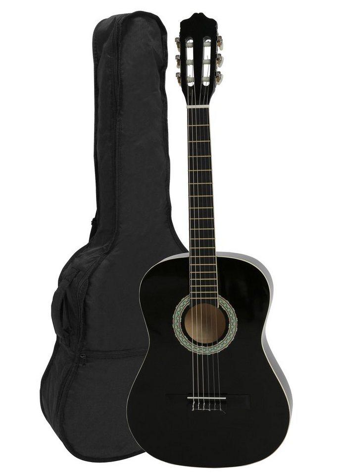 Gitarre mit Tasche + 2 Plektren, »Akustik Konzertgitarre ¾« in schwarz
