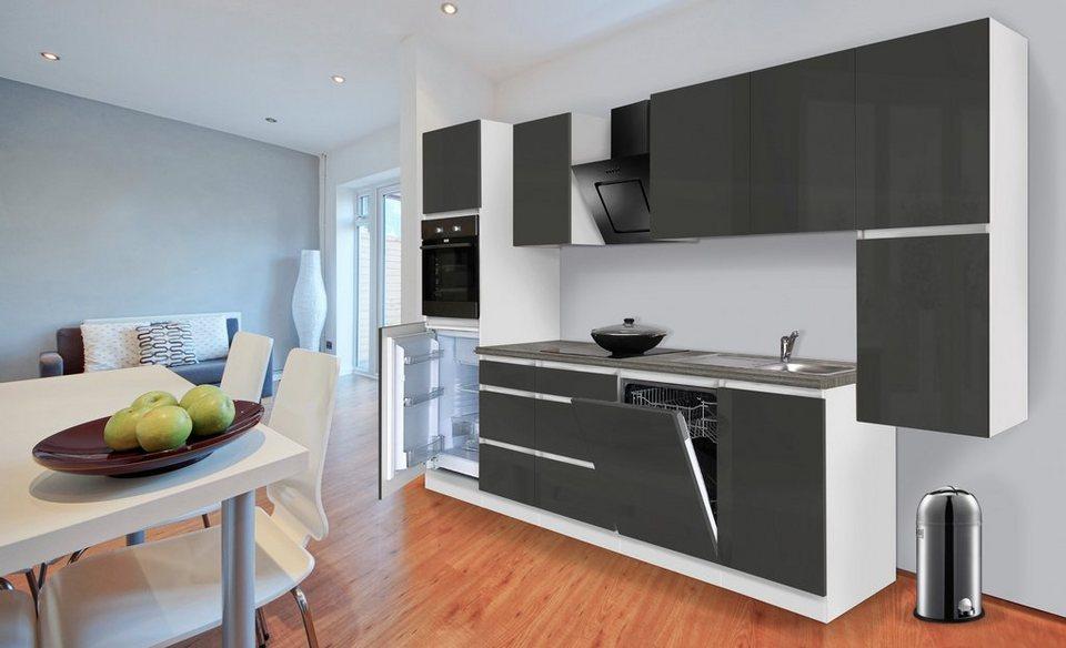 Küchenzeile mit E-Geräten »Boston«, Breite 330 cm in grau/weiß