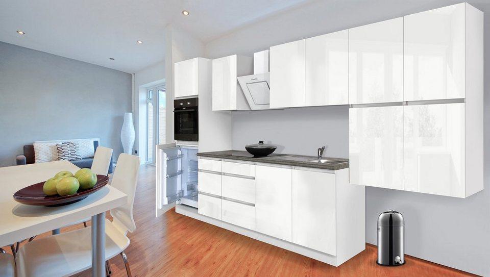 Küchenzeile mit E-Geräten »Boston«, Breite 370 cm in weiss glanz