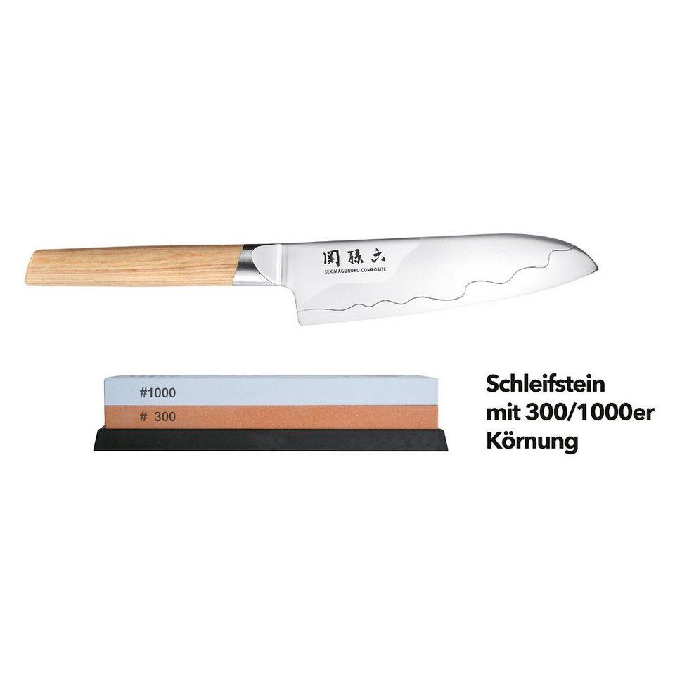 KAI KAI Messer Set - Santoku 16.5 cm + Schleifstein 300-1000