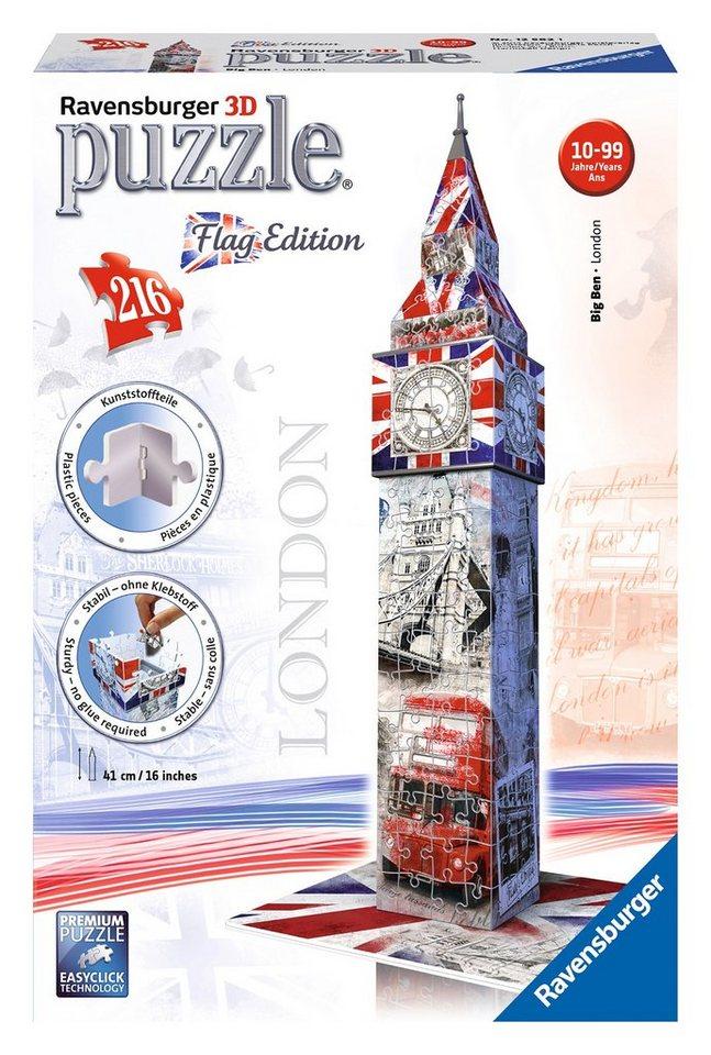 Ravensburger 3D Puzzle, 216 Teile, »Big Ben Flag Edition«