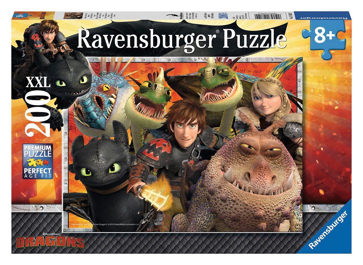 Ravensburger Puzzle, 200 Teile, »Dragons - Hicks, Astrid und die Drachen«