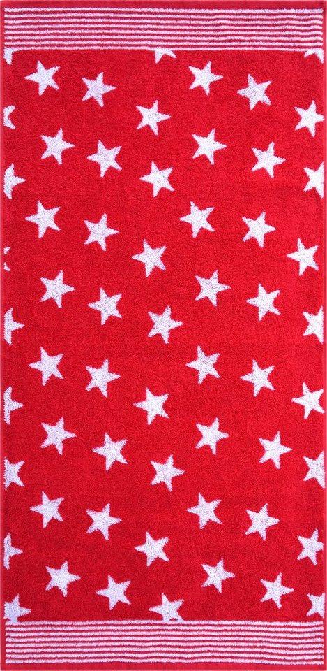 Badetuch, Dyckhoff, »Stars«, mit Sternen und Bordüre in rot