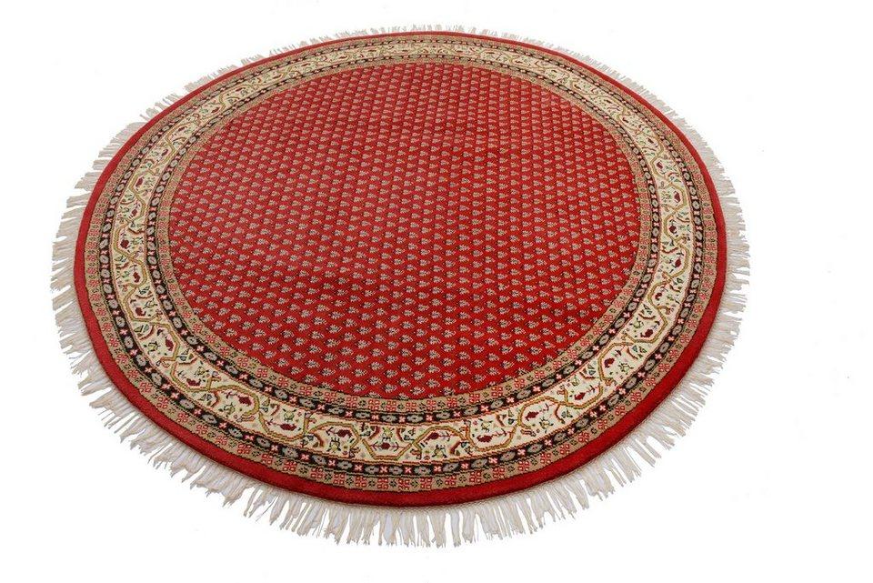 Orient-Rundteppich, Parwis, »Sarough Mir«, 140 000 Knoten/m², handgeknüpft, Schurwolle, Unikat in rot