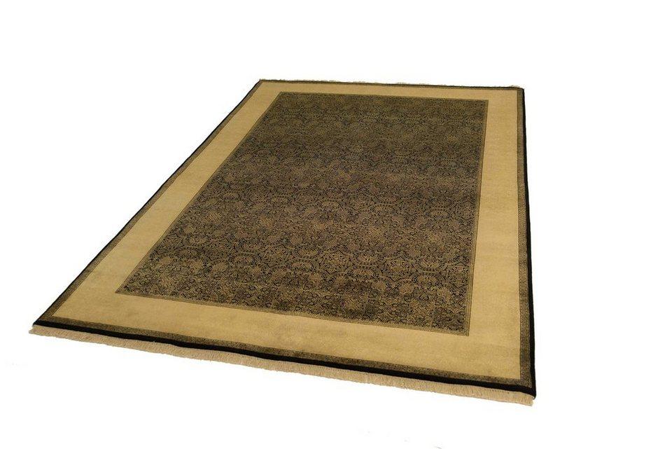 Orient-Teppich, Parwis, »Parvin«, handgeknüpft, 276.000 Knoten/m², Seidenanteil, Unikat in schwarz