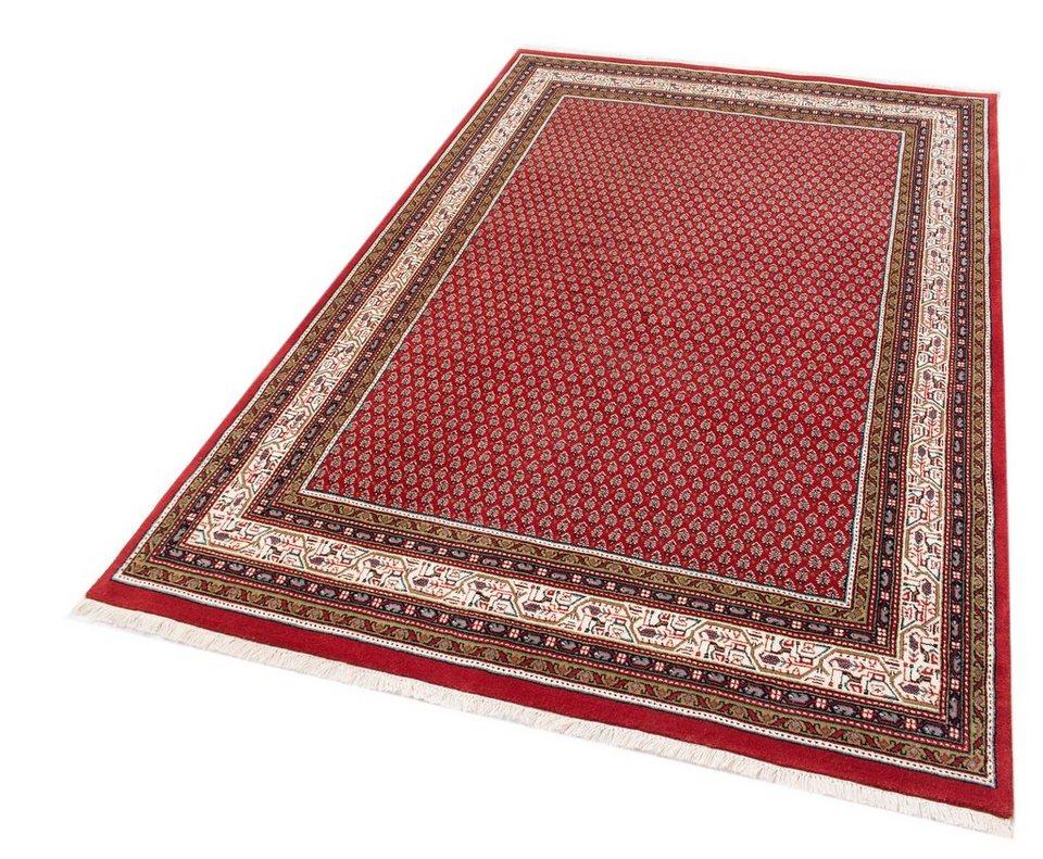 Teppich, Parwis, »Exklusiv Mir«, handgeknüpft, 193.000 Knoten/m² reine Schurwolle in rot