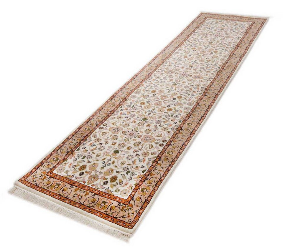 Orient-Läufer, Parwis, »Mohammadi Täbriz«, 139 000 Knoten/m², handgeknüpft, Wolle, Unikat in creme