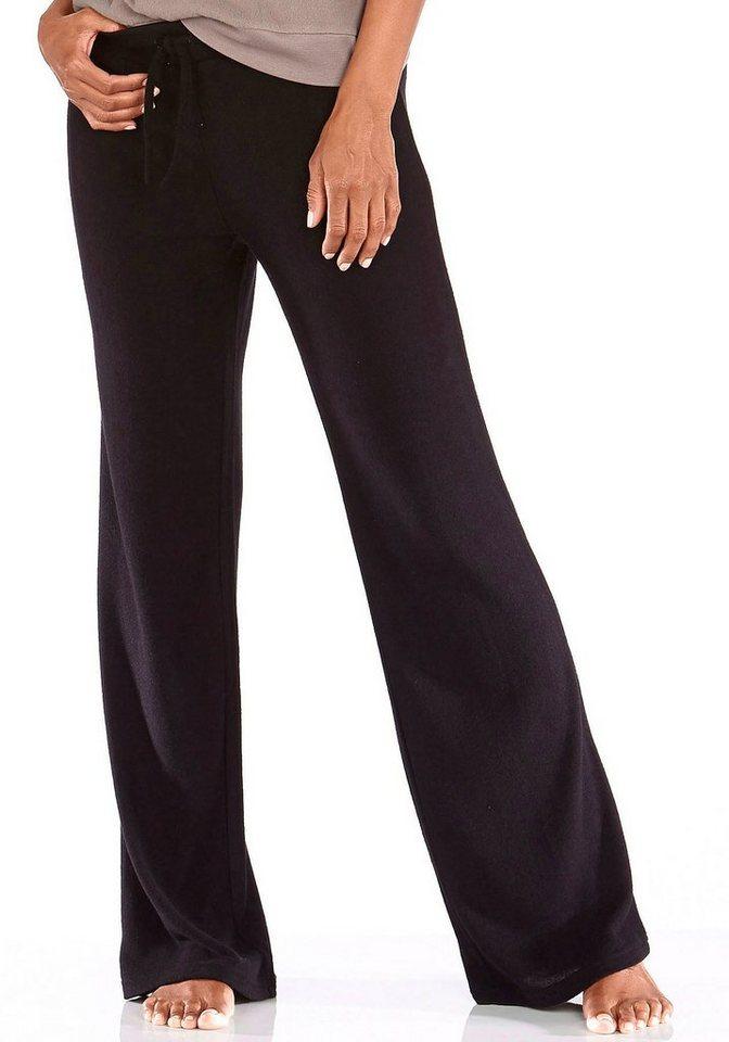 Lavana Basic Relaxhose mit weitem Bein in schwarz