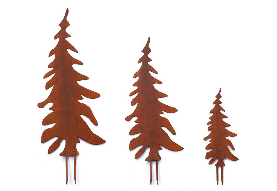 Gartenstecker set tannenbaum rost 3tlg otto for Rost gartenstecker