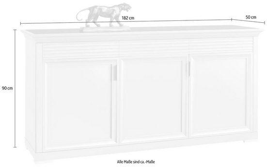 SELVA Sideboard »Luna«, Modell 7231, mit schwarz lackierter Glasoberplatte