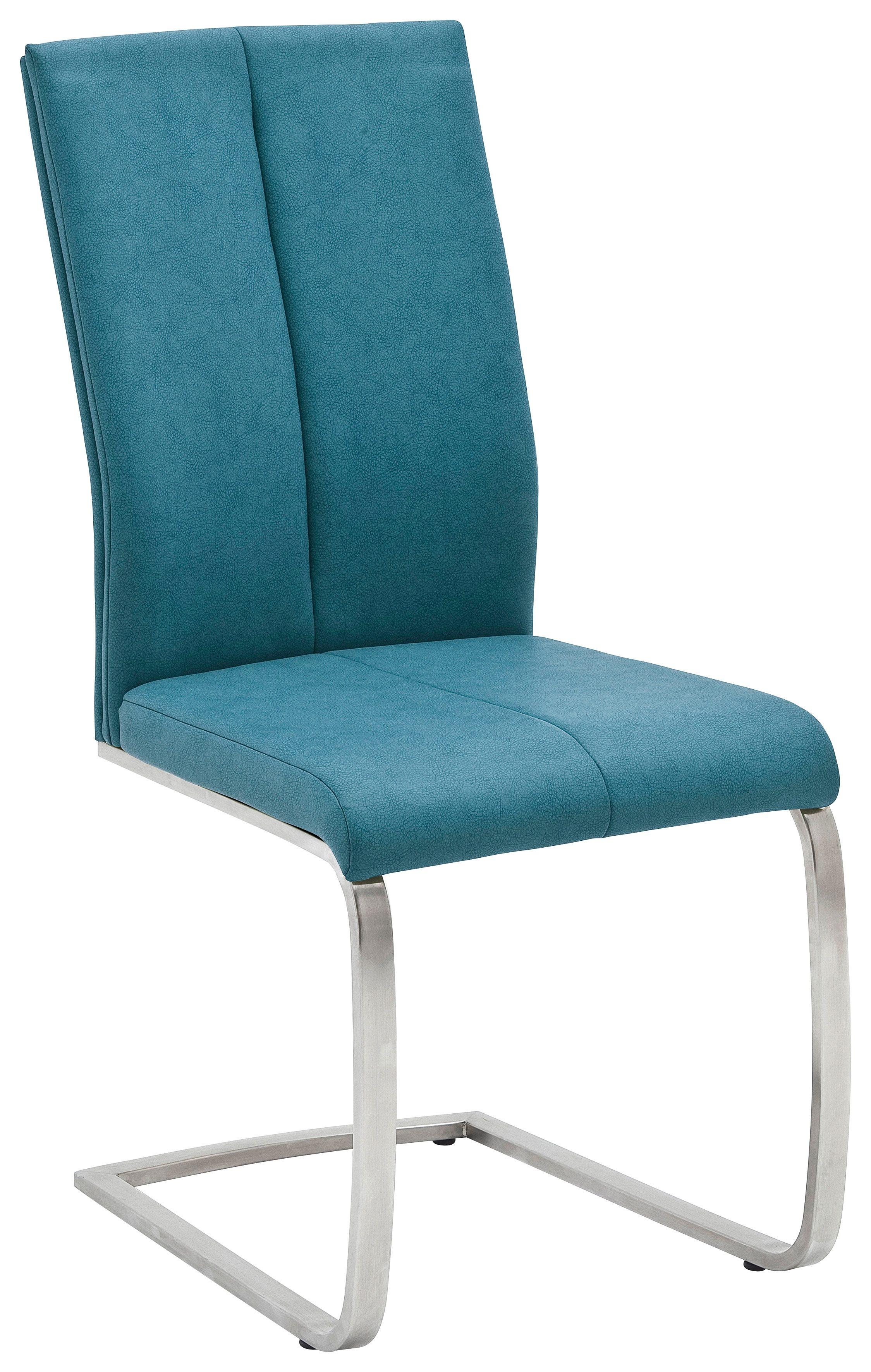 2er Set 4-Fuß-Stuhl Flores - Kunstleder Petrol