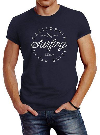 Neverless Print-Shirt »Herren T-Shirt California Surfing Ocean Drive Summer Slim Fit Neverless®« mit Print