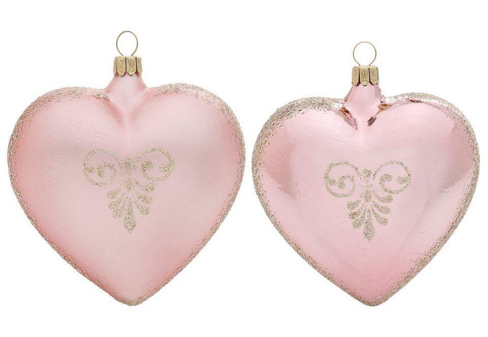 Thüringer Glasdesign TGS-Christbaumschmuck Herzen, Made in Germany, »Romantik« (2tlg.) in rosa
