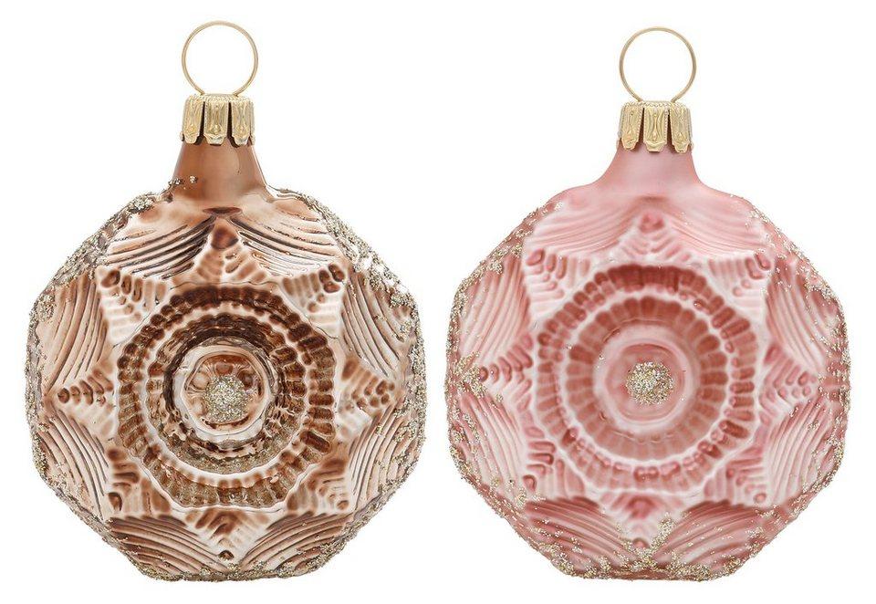 Thüringer Glasdesign TGS-Christbaumschmuck Medaillons, Made in Germany, »Romantik« (6tlg.) in bunt