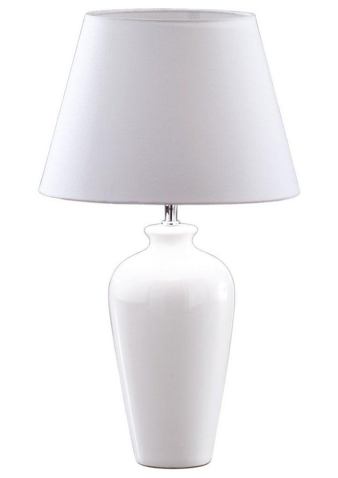 Honsel Leuchten Tischleuchte, 1 flammig, ohne Leuchtmittel in Leuchtensockel Keramik weiß, Stoffschirm weiß