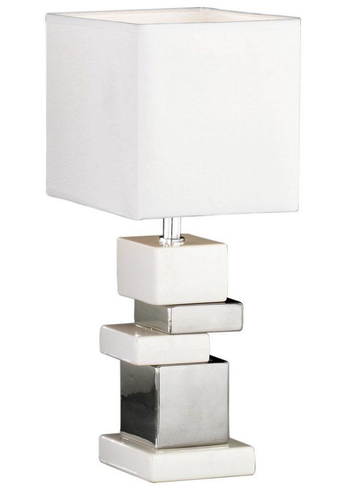 Honsel Leuchten Tischleuchte, 1 flammig, ohne Leuchtmittel in weiß / silberfarben
