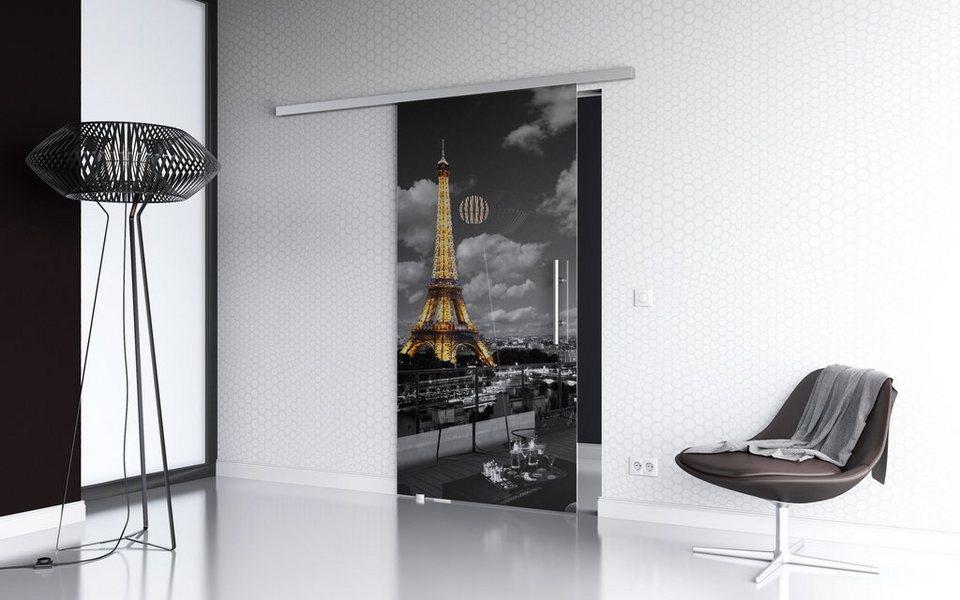 Glasschiebetür »Paris Premium« mit Softclose-Funktion und Stangengriff in weiß