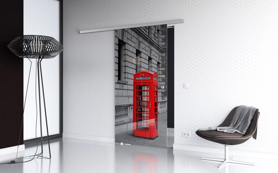 Glasschiebetür »London Premium« mit Softclose-Funktion und Muschelgriff in weiß