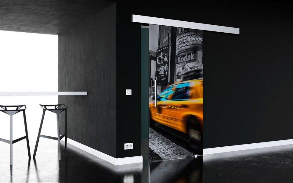 Glasschiebetür »New York« mit Stangengriff in weiß