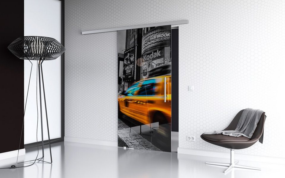 Glasschiebetür »New York Premium« mit Softclose-Funktion und Stangengriff in weiß