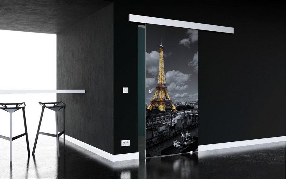 Glasschiebetür »Paris« mit Muschelgriff in weiß
