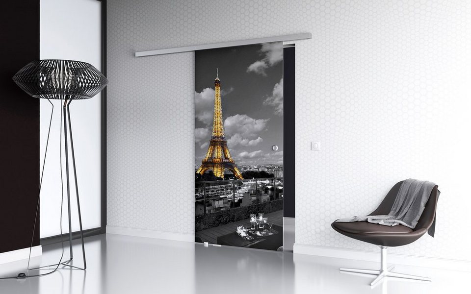 Glasschiebetür »Paris Premium«, mit Muschelgriff, in 3 Breiten in weiß