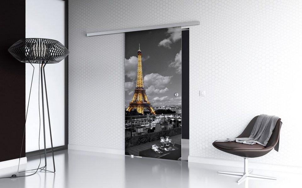 Glasschiebetür »Paris Premium« mit Softclose-Funktion und Muschelgriff in weiß