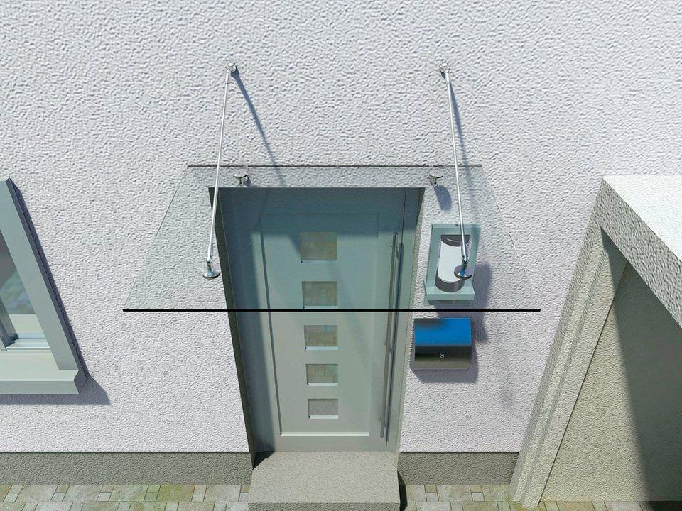 Glasvordach,Dachneigung: 80° - 85°, in 4 Größen in weiß