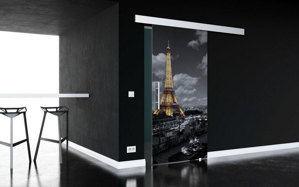 Glasschiebetür »Paris« mit Stangengriff in weiß