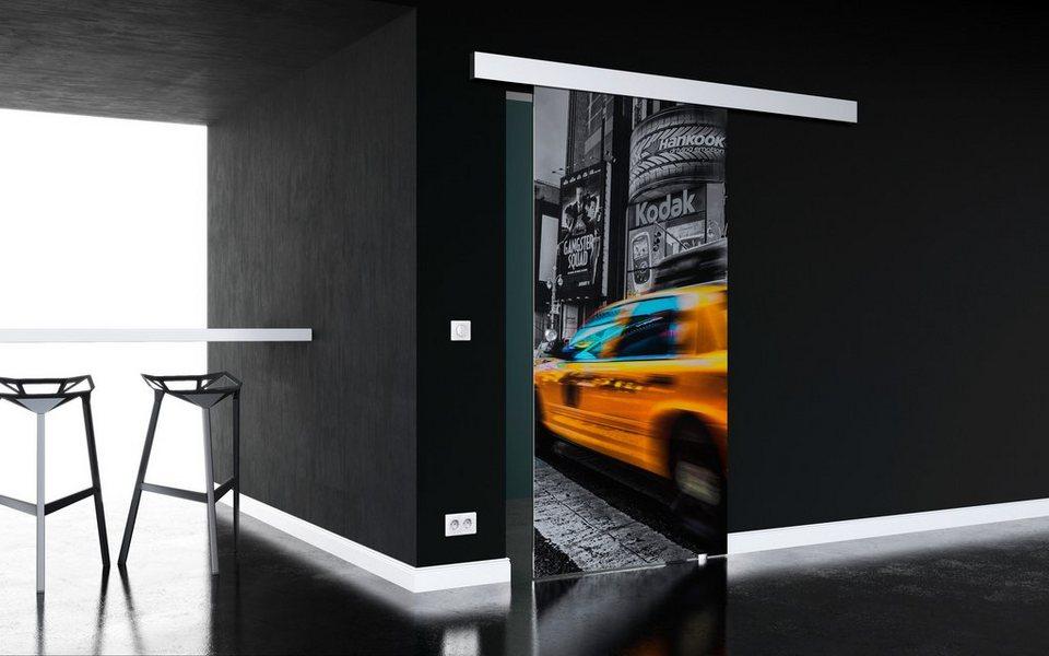 Glasschiebetür »New York«, mit Muschelgriff, in 3 Breiten in weiß