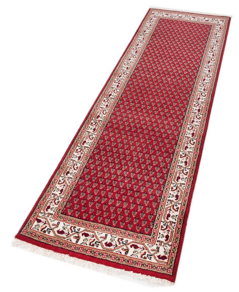 Orient-Läufer, Parwis, »Sarough Mir«, 140 000 Knoten/m², handgeknüpft, Schurwolle, Unikat in rot