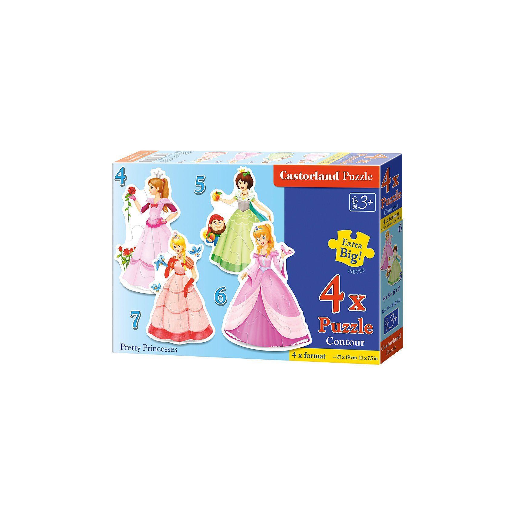 Castorland Puzzleset Konturenpuzzle 4/5/6/7 Teile - Prinzessinnen
