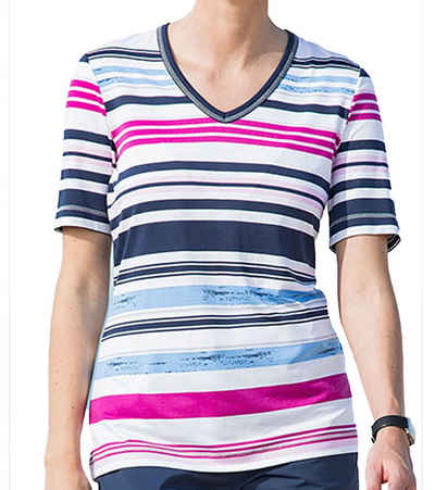 Canyon Kurzarmshirt »CANYON V-Neck Shirt modisches Damen Ringel T-Shirt Kurzarm-Shirt Bunt«