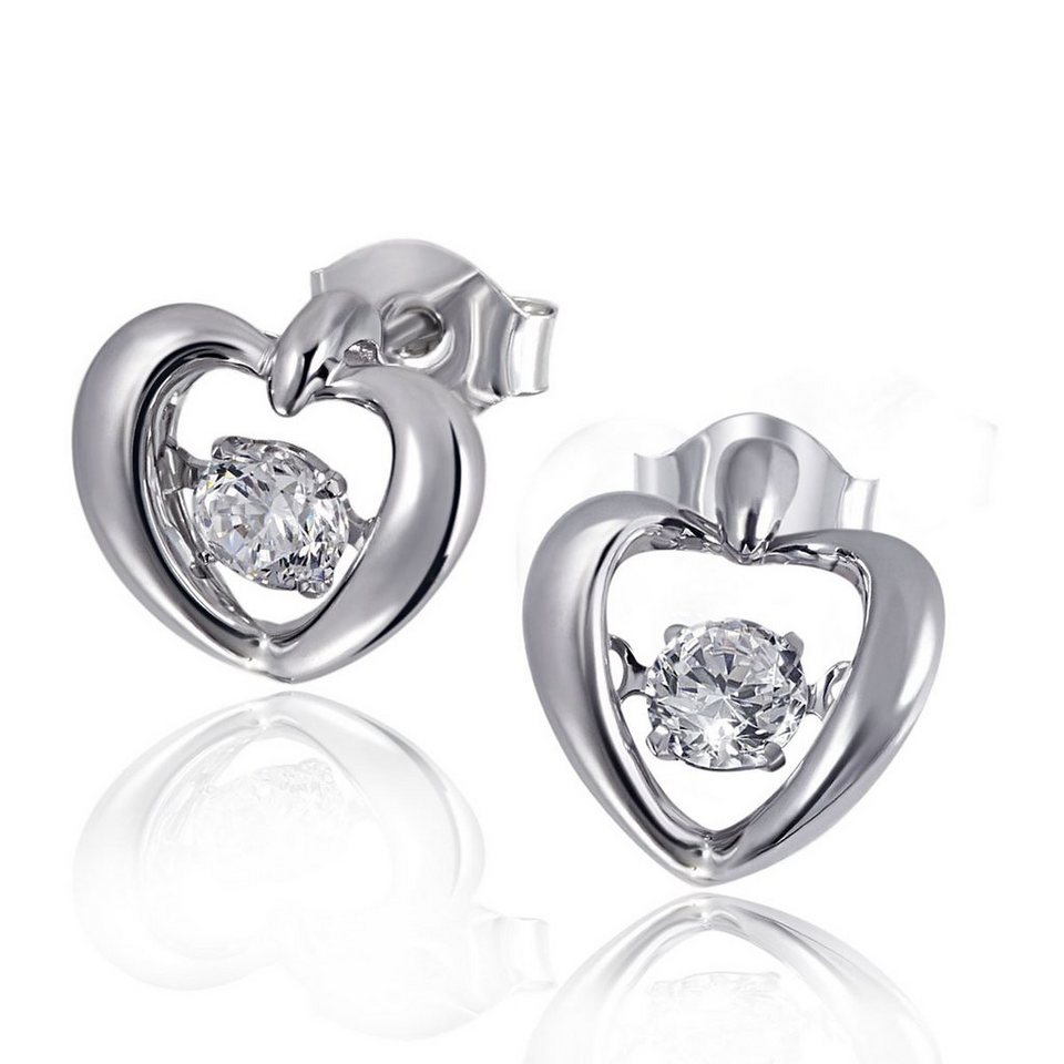 goldmaid Ohrstecker Moving Stars Heart 925 Sterlingsilber rhodiniert 2 Zi in silberfarben