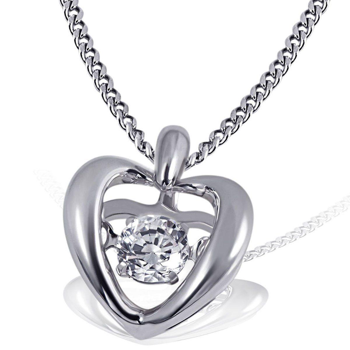 goldmaid Collier Moving Stars Heart 925 Sterlingsilber rhodiniert 1 Zirko