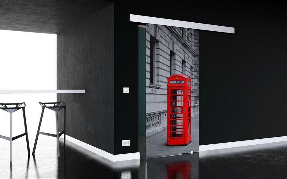 Glasschiebetür »London« mit Muschelgriff in weiß